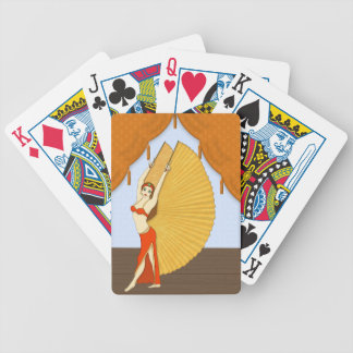 Brunette Bellydancer with Gold Isis Wings Deck Of Cards