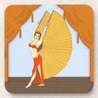 Brunette Bellydancer with Gold Isis Wings Drink Coasters