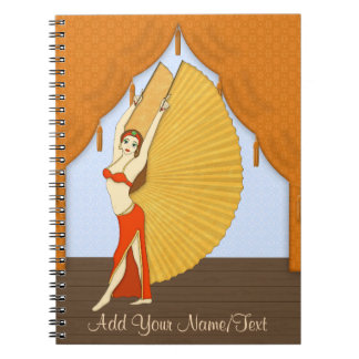 Brunette Bellydancer with Gold Isis Wings Note Books