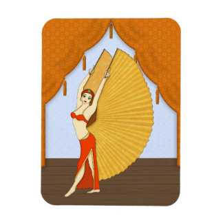 Brunette Bellydancer with Gold Isis Wings Rectangular Photo Magnet