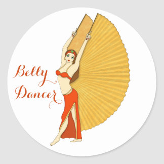 Brunette Bellydancer with Gold Isis Wings Round Sticker