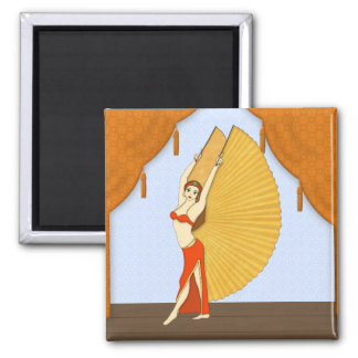 Brunette Bellydancer with Gold Isis Wings Square Magnet