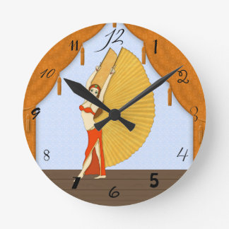 Brunette Bellydancer with Gold Isis Wings Wall Clock