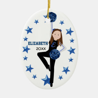 Brunette Black, Blue & White Pom Squad Christmas Ornament
