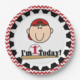 Brunette Boy Baseball 1st Birthday Paper Plates 9 Inch Paper Plate