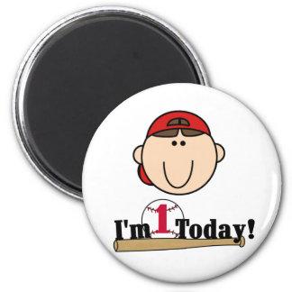 Brunette Boy Baseball 1st Birthday Tshirts 6 Cm Round Magnet