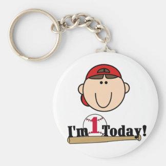 Brunette Boy Baseball 1st Birthday Tshirts Basic Round Button Key Ring