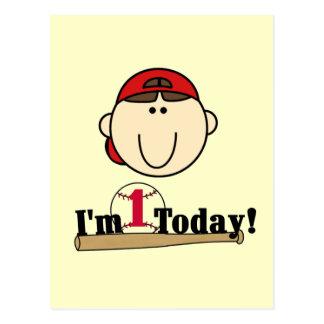 Brunette Boy Baseball 1st Birthday Tshirts Postcard