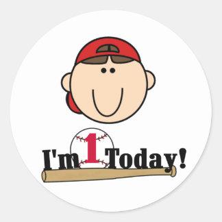 Brunette Boy Baseball 1st Birthday Tshirts Round Sticker