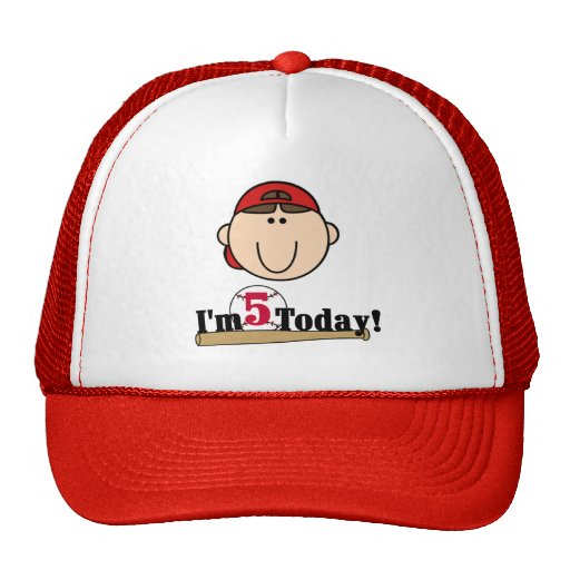 Brunette Boy Baseball 5th Birthday Mesh Hat