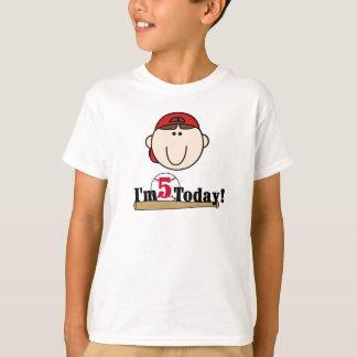 Brunette Boy Baseball 5th Birthday T-Shirt