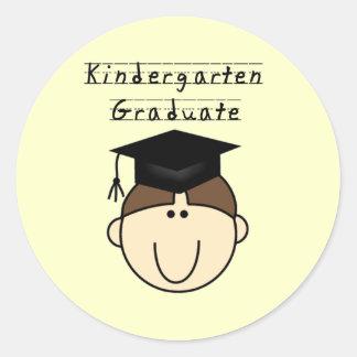 Brunette Boy Kindergarten Graduate Classic Round Sticker