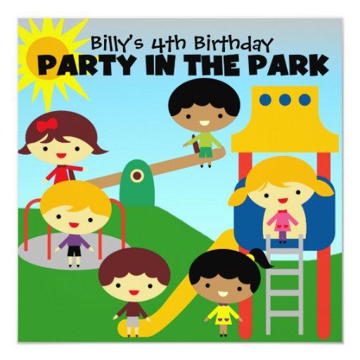 Brunette Boy Party in the Park Invite 13 Cm X 13 Cm Square Invitation Card