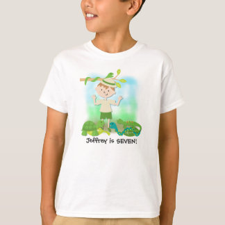 Brunette  Boy Safari Birthday Customized Tshirt
