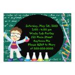 Brunette Boy Scientist Birthday Party Invitation