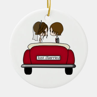 Brunette Bride and Groom in a Red Wedding Car Christmas Ornament