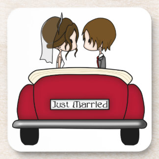 Brunette Bride and Groom in a Red Wedding Car Coaster