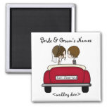 Brunette Bride and Groom in a Red Wedding Car Square Magnet