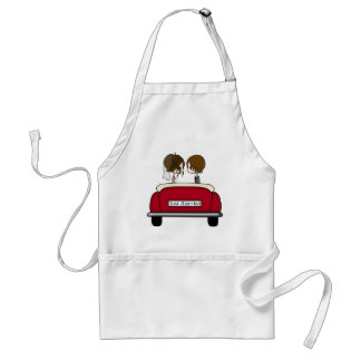 Brunette Bride and Groom in a Red Wedding Car Standard Apron