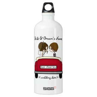 Brunette Bride and Groom in a Red Wedding Car Water Bottle