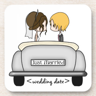 Brunette Bride & Blonde Groom in Grey Car Beverage Coasters
