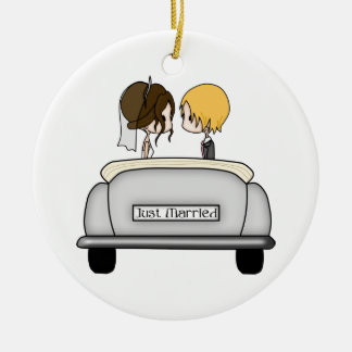 Brunette Bride & Blonde Groom in Grey Car Christmas Ornament
