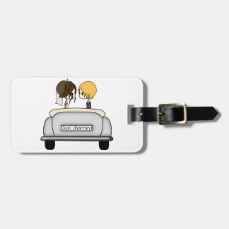 Brunette Bride & Blonde Groom in Grey Car Luggage Tag