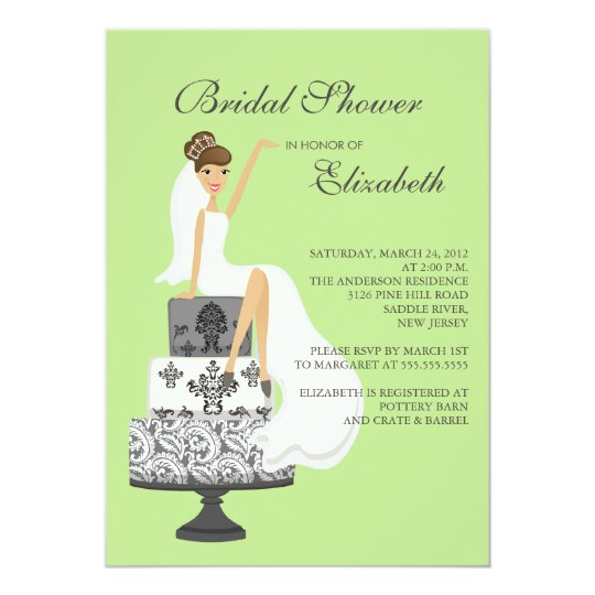 Brunette Bride Bridal Shower Invitation Green Grey