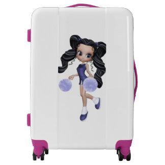 Brunette Cheerleader Girl Medium Sized Luggage