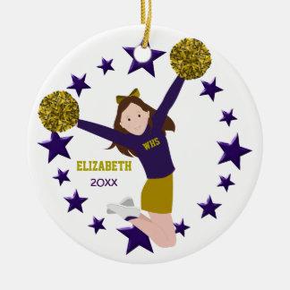 Brunette Cheerleader Pom Poms In Purple & Gold Round Ceramic Decoration