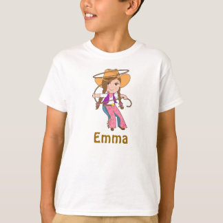 Brunette Cowgirl Shirt with Name