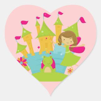 Brunette Fairy Princess Heart Sticker