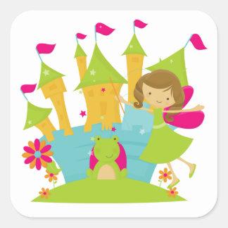 Brunette Fairy Princess Square Stickers