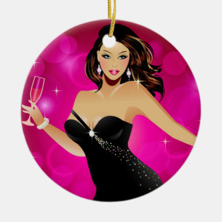 Brunette Fashion Model and Wine Christmas Ornament
