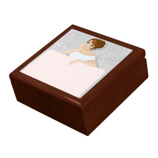 Brunette Fashion model sign in white dress Large Square Gift Box