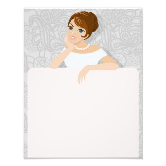 Brunette Fashion model sign in white dress Photographic Print