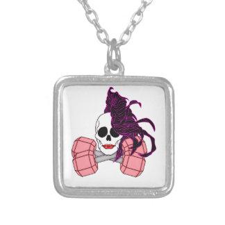 brunette female skull square pendant necklace