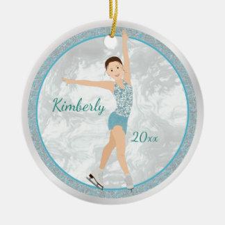 Brunette Figure Skater In Aqua Round Ceramic Decoration