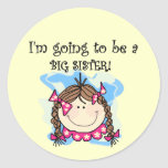 Brunette Future Big Sister Tshirts and Gifts Stickers