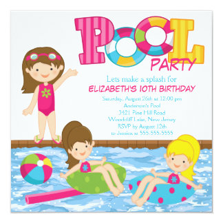 Brunette Girl Birthday Pool Party Invitation