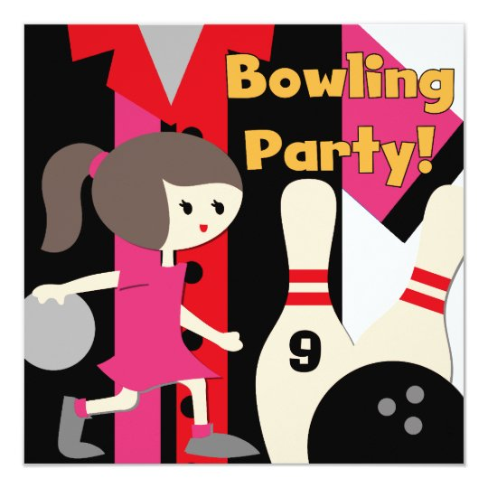 Brunette Girl Bowling Party Invitations