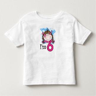 Brunette Girl I'm Six Toddler T-Shirt