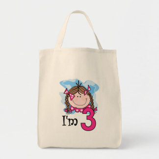Brunette Girl I'm Three Grocery Tote Bag