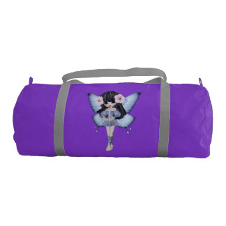 Brunette Girl Princess Fairy Purple Gym Bag Gym Duffel Bag