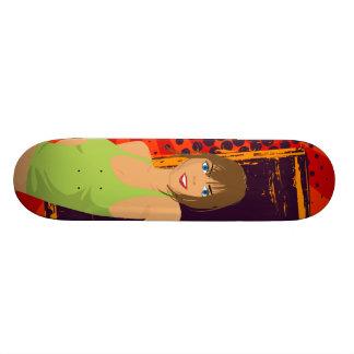Brunette girl skate board