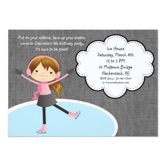 Brunette Hair Girl Ice Skating Birthday Invitation