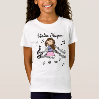 Brunette Hair Stick Figure Violin Player T-shirt