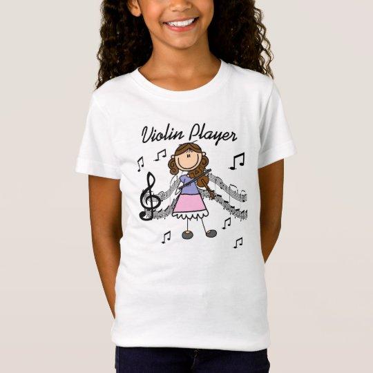 Brunette Hair Stick Figure Violin Player T-shirt