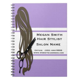 Brunette Hair Stylist Scissors Spiral Notebook