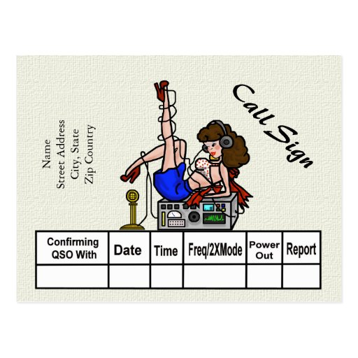Brunette Ham Radio Pin-up Girl QSL Cards Post Card